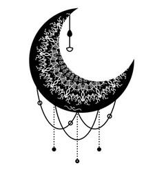 Ethnic black moon mandala oriental pattern design vector