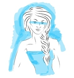 Fashion girl sketch on blue background vector image