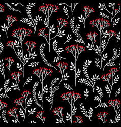 floral pattern with leaves berry and flowers vector image