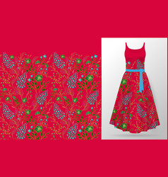 Flower embroidery on dress mock up fashion vector