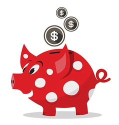 Funky red money pig - piggy bank with dollar coins vector