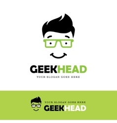 Geek face logo vector