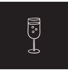 Glass of champagne sketch icon vector image