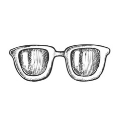 glasses horn-rimmed stylish accessory ink vector image