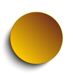Gold circle button on white background vector