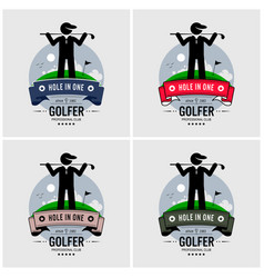 golf club logo design artwork of a golfer posing vector image