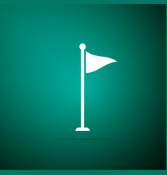 golf flag icon isolated on green background vector image