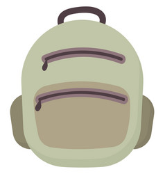 Green backpack on white background vector