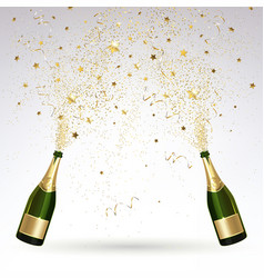 greeting card with champagne and gold confetti vector image