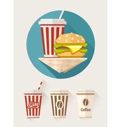 Hamburger and soda in paper vector