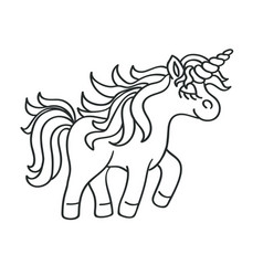Hand drawing outline walking unicorn icon vector