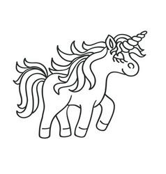 hand drawing outline walking unicorn icon vector image