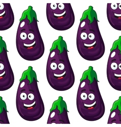 Happy eggplant or aubergine seamless pattern vector image