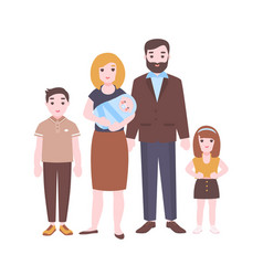happy family portrait mother holding newborn baby vector image