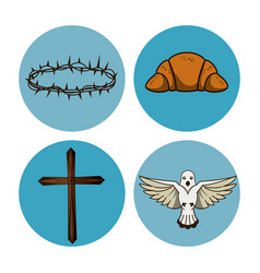 Holy week round icons vector