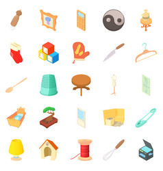 Homes things icons set cartoon style vector