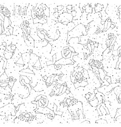 horoscope hand draw seamless pattern all zodiac vector image