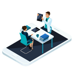 Isometric concept of online consultation vector