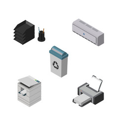 Isometric work set of wall cooler scanner vector