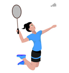 Jumping badminton player on white background vector