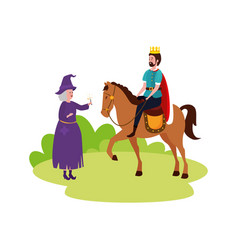 king fairytale in horse with witch vector image