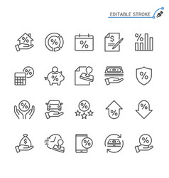Loan line icons editable stroke vector