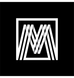 M capital letter made of stripes enclosed in a vector image
