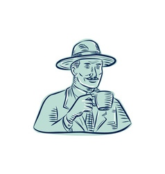 Man Fedora Hat Drinking Coffee Etching vector
