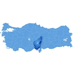 Map of Turkey where Adana province is pulled out vector