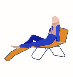 muslim woman on a deck chair fashion hijab vector image