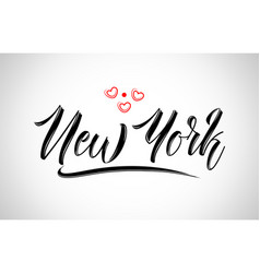 new york city design typography with red heart vector image