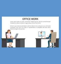 office work bright poster vector image