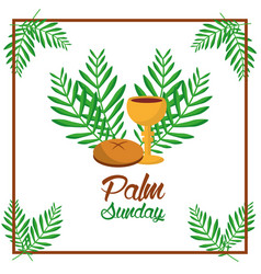 Palm sunday bread cup and leaves tree frame vector