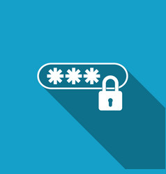 password protection icon isolated with long shadow vector image