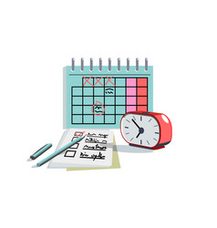 planning day schedule in paper diary or notebook vector image