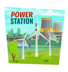 Power plant and windmills dam vector