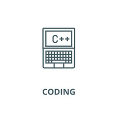 programming coding c plus line icon vector image