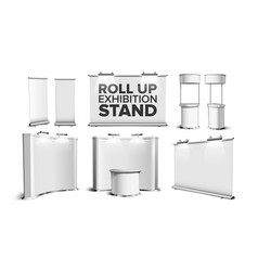 roll up stand fair desk counter table set vector image
