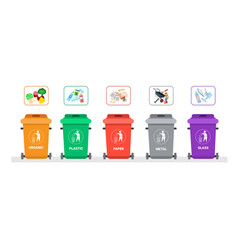 Rubbish container for sorting waste icon set vector