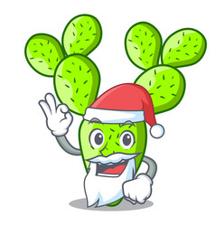 Santa cartoon the prickly pear opuntia cactus vector