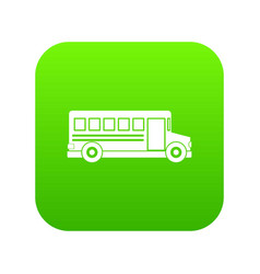 School bus icon digital green vector