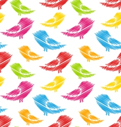 Seamless Pattern with Abstract Colorful Birds vector image