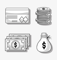 set financial business to commerce economy vector image vector image