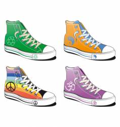 shoes with peace symbol vector image