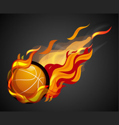 shooting basketball with flame on black background vector image