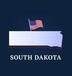 south dakota state isometric map and usa national vector image