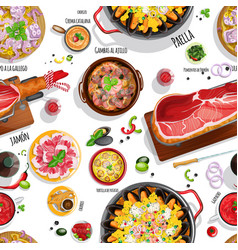 spanish food seamless pattern vector image