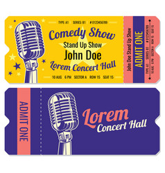 Stand up comedy show entrance tickets vector