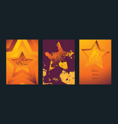 stars in different styles set of cards watching vector image