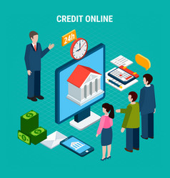 take credit isometric composition vector image